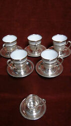 6 Sterling Cups Holders And Saucers And 5 Staffordshire China Demitasse Inserts