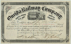 Rare - Oneida Railway Ny Stock Certificate Signed By President 1886 Railroad Rr