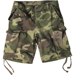 Mens Paratrooper Cargo Army Style Shorts Prewashed Us Woodland Camouflage S-xxl
