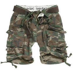 Surplus Division Mens Cargo Army Military Style Shorts + Belt Us Woodland Camo