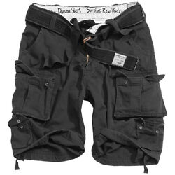 Surplus Military Army Style Division Mens Cargo Combat Shorts + Belt Black