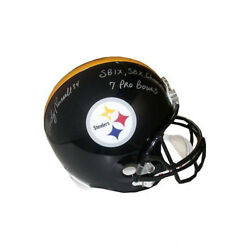 Andy Russell Signed Pittsburgh Steelers Fs Rep Helmet Sb Champs/7 Pro Bowls- Jsa