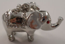 Rhinestone Bling Good Luck Elephant Silver Tone Key Chain Purse Fob Charm
