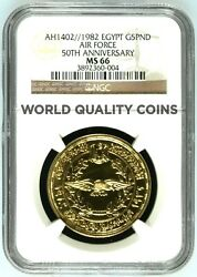Egypt 1402/1982 Gold Coin 5 Pounds 50th Anniversary Air Force Ngc Ms66 Rare
