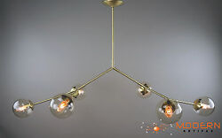 Modern Branching Chandelier With Bubble Shaped Hand Blown Glass