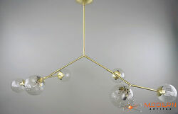 Modern Branching Chandelier With Vintage Crackle Glass