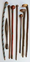 S-africa 8 Old African Clubs Anciene Collection Cache Tetes Massue Zulu Swazi