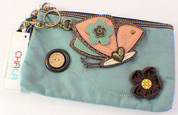 Chala Fanicful Butterfly Purse Clutch Suede Leather Credit Cards Coins Key Chain $29.99