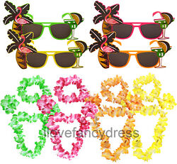 5 PIECE HAWAIIAN KIT SUNGLASSES FLOWER NECKLACE HEADBAND BRACELETS FANCY DRESS