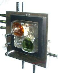 Poliarte Murano Brutalist,sculptural Glass And Chrome Single Sconse 55cm Height