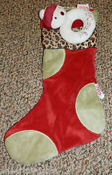 Christmas Stocking And Snowman Rattle Cocalo My First Red Green W Leopard Spots