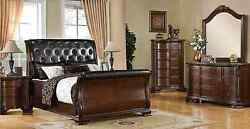 Brown Cherry Finish South Yorkshire Bedroom Set Bed Dresser Mirror