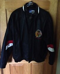 Rare Vintage Chicago Blackhawks 100 Leather Starter In Excellent Condition