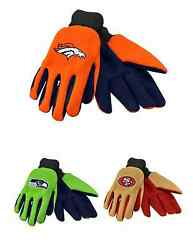 Nfl Football Team Logo Colored Palm Utility Work Gloves - Pick Your Team