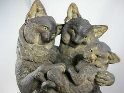 19th Century Stoneware Figural Cat Family Group With Glass Eyes C1870's, C