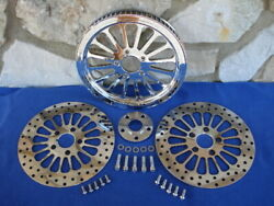 For Harley Fat Boy Softail 00-06 Spoke 70 T 1 1/8 Pulley And Rotor Kit Parts