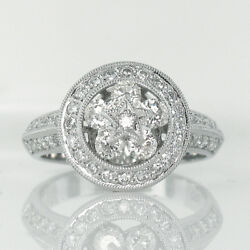 Unique Floating 0.98ct Diamond Flower Star Cocktail Ring In 14k White Gold