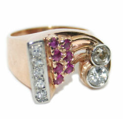 14k Rose Gold 1.25ct Diamond And Ruby Womenand039s Retro Ring Size 5.7