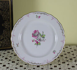 Collectors Cabinet Plate, Delicate Antique Flowers In Three