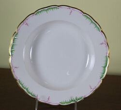 Collectors Cabinet Plate, Hand-painted Green And Pink Decoration