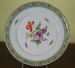 Collectors Cabinet Plate, Hand-painted Multi-colored Flowers