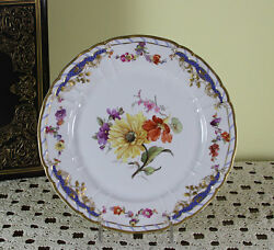 Collectors And Historic Cabinet Plate, Hand-painted Multi-colored Flowers
