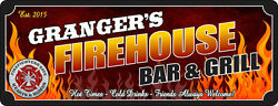 Firefighter Bar And Grill Personalized Sign Pub Wall Art Plaque Home Decor C1307