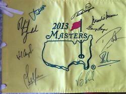 Jordan Spieth And 9 Others Mickelson Signed Masters Flag Uacc Aftal Racc Dealer