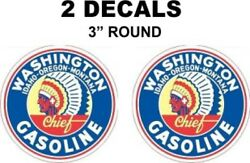 2 Vintage Style Washington Gasoline Decals - Great For Dioramas, Gas, Oil Cans