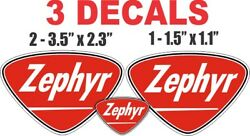 3 Vintage Style Zephyr Gasoline Decals - Great For Dioramas, Gas, Oil Cans
