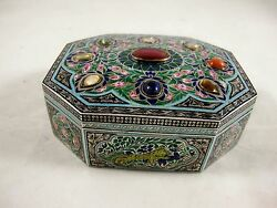 19th Century Indian Silver And Enamelled Box With 9 Stones C 1870and039s