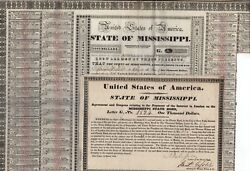 1833 State Of Mississippi Bonds - 2 Bonds W/coupons