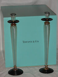 Pair Of 16 And Co. Art Glass Candlesticks Paran Sculpture Signed W/box