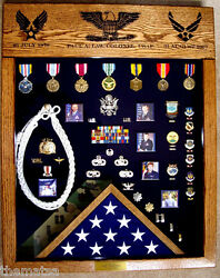 Laser Top Military Badge Medal Flag Challenge Coin Display Case Shadow Box