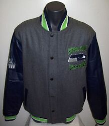 Seattle Seahawks Super Bowl Championship Wool And Leather Jacket 4x, 5x
