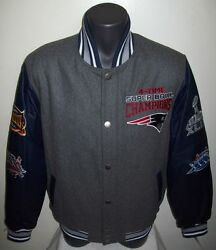 New England Patriots 4 Time Super Bowl Championship Wool Leather Jacket Sm Med
