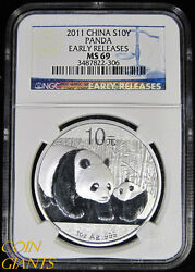 2011 China 10 Yuan Ngc Ms69 Panda Early Releases Er Silver Bullion Coin S10y