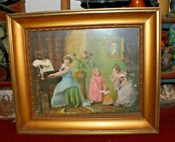 Antique Victorian Chromolithograph Girls Playing Piano Gilded Wood Frame Dresses