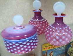 Rare Czech Cranberry Opalescent Dresser Set Perfumes And Powder Hobnail Clamsbroth