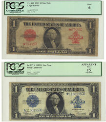 Fr 40 Star Note 1 1923 Legal Tender Star Note And Fr237 Silver Certificate 1