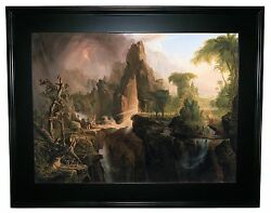 Thomas Cole Expulsion From The Garden Of Eden 1828 -black Framed Canvas Print