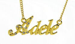 18k Gold Plated Necklace With Name Adele - Anniversary Love Name Plate Christmas