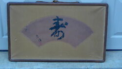 Antique 19c Chinese Watercolorandcaligraphy Fan Painting On Paper Signed