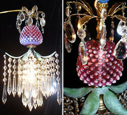 Lamp Swag Chandelier Srawberry Crystal Brass Vintage Fenton Cranberry Glass
