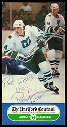 1980's Ron Francis Autograph On Nm Promotional Hartford Whalers Courant Postcard