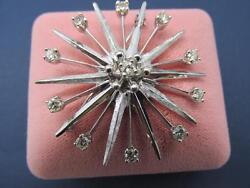 Vintage Rare 14k Solid White Gold Open Style Snowflake/star Design Brooch