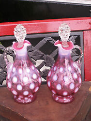 Pair Vintage 1940and039s Fenton Cranberry Opalescent Dot Optic Coin Dot Decanters