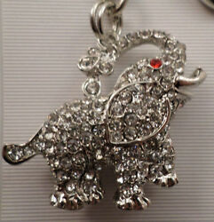 Rhinestone Bling Good Luck Elephant Charm Key Chain Purse Fob