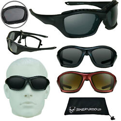 Mens Motorcycle Sunglasses Large Removable Foam Padded Glasses Red Blue BLACK