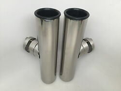 2 Pcs Marine Boat Durable Stainless Steel 316 Clamp-on Rod Holders